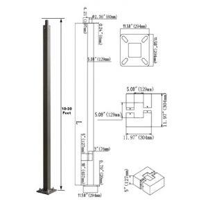 Standard Square Steel Anchored Pole