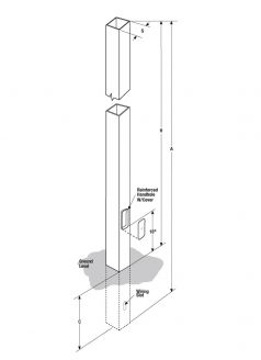 Square Steel Direct Burial Pole