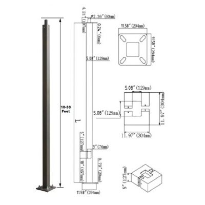 Standard Square Steel Anchored Pole