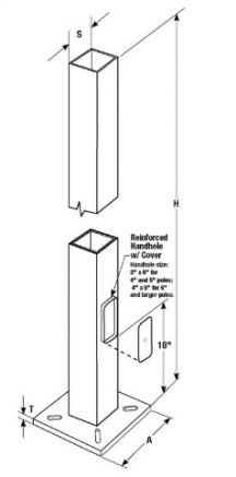 Square Steel Anchor Based Pole